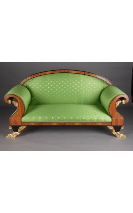 Grand sofa French Empire style green satin fabric and mahogany wood