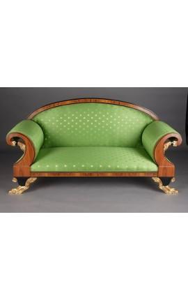 Canapé de style Empire tissu satiné vert et bois loupe d'orme