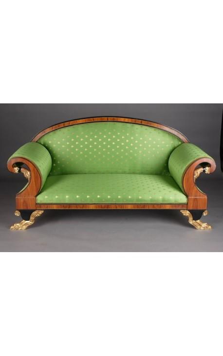 Canapé de style Empire tissus satiné vert et bois loupe d'orme