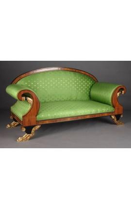 Большой диван французском стиле ампир зеленые ткани атласа и древесины вяза