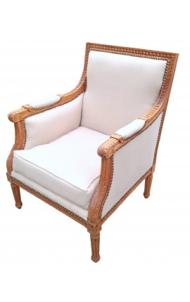 Big bergere armchair Louis XVI style beige linen fabric and raw wood