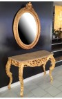 Console Baroque Louis XV Rocaille gilt wood and beige marble