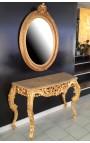 Консоль Людовика XV Rocaille барокко позолоченной древесины и бежевый мрамор