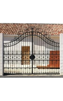 Ворота замка в стиле барокко из кованого железа с двумя листьями