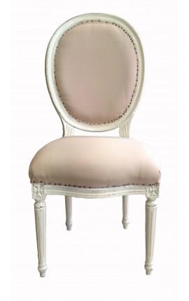 Chaise de style Louis XVI, tissu couleur lin beige et bois beige patiné