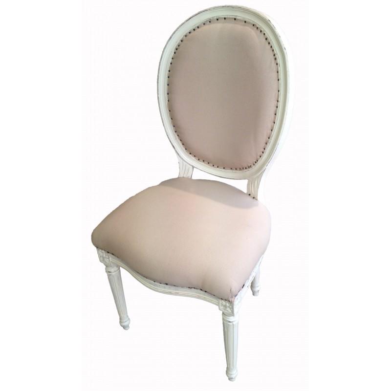 Chaise de style louis xvi tissu couleur lin beige et bois - Chaise tissu couleur ...