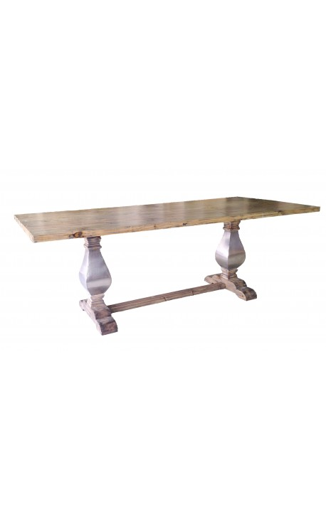 Large farm table Natural wood base with stainless steel baluster