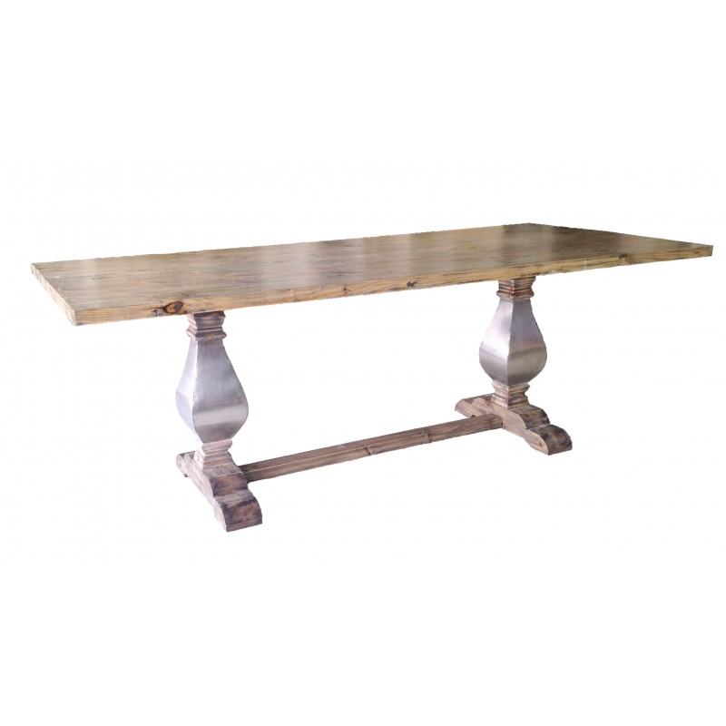 Grande table de ferme en bois naturel avec pi tement balustre en inox for Pietement de table