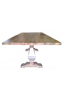 Большая ферма стол из натурального дерева база из нержавеющей стали, балясины