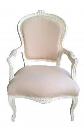Барокко кресло Louis XV цвет бежевый льняной ткани и бежевый выветривания древесины