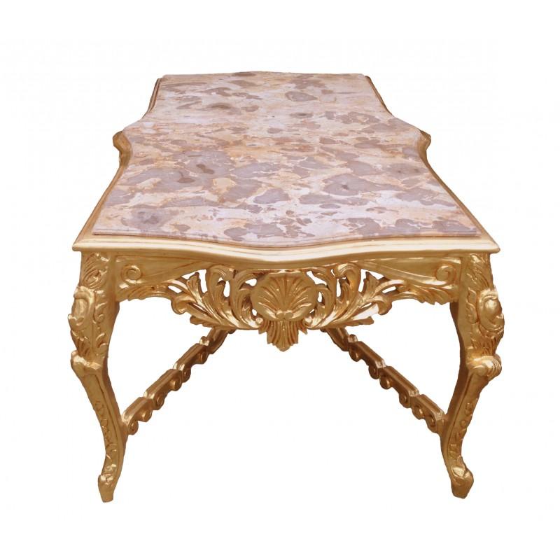 tr s grande table de repas baroque en bois dor et marbre beige. Black Bedroom Furniture Sets. Home Design Ideas