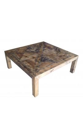 Grande table basse carrée en bois avec plateau façon parquet ancien