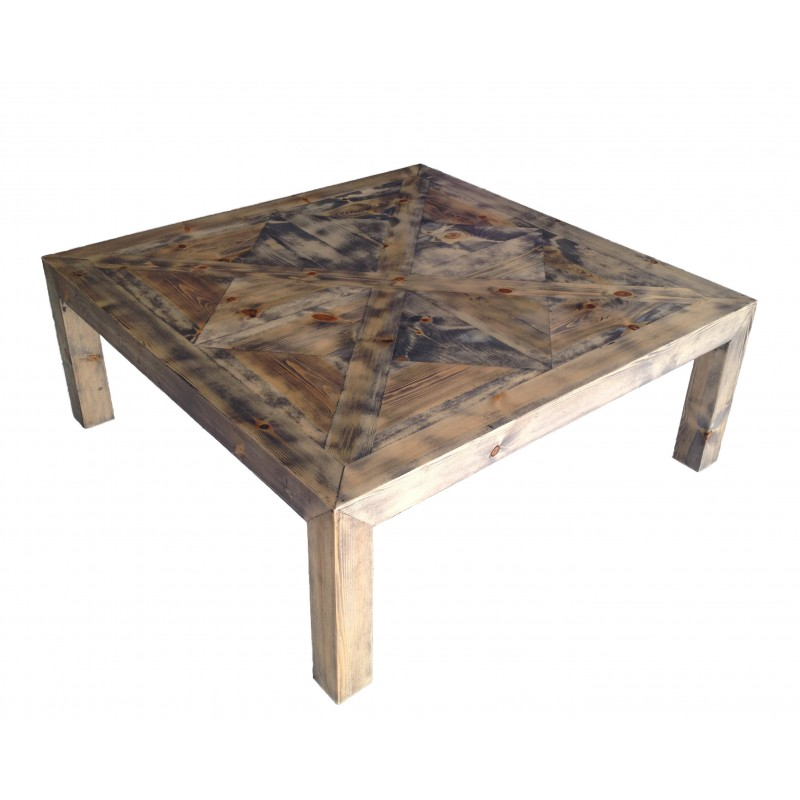 grande table basse carr e en bois avec plateau fa on parquet ancien. Black Bedroom Furniture Sets. Home Design Ideas