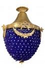 Lustre à pampilles verre bleu avec bronzes