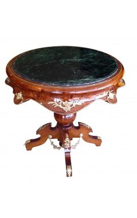 Table ronde de style empire bois acajou, bronzes et marbre vert