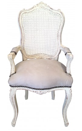 Armchair Louis XV style caned back, beige velvet and beige patinated wood