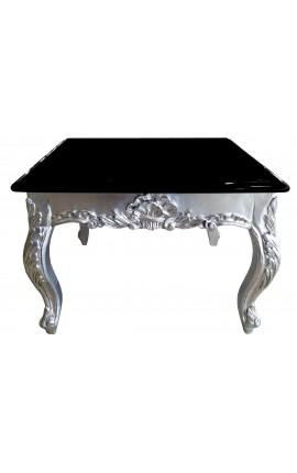 Table basse carrée de style baroque en bois argenté avec plateau noir