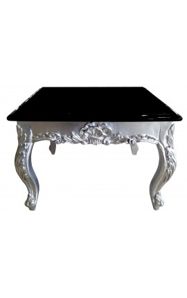 Square coffee table baroque silvered wood with black lacquered top