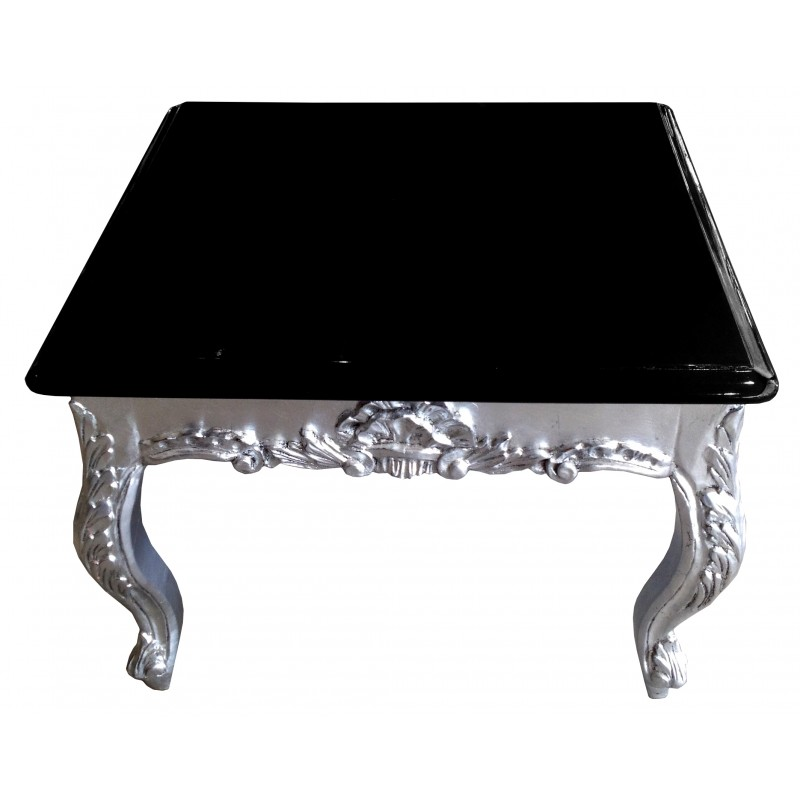 table basse carr e de style baroque en bois argent avec plateau laqu noir. Black Bedroom Furniture Sets. Home Design Ideas