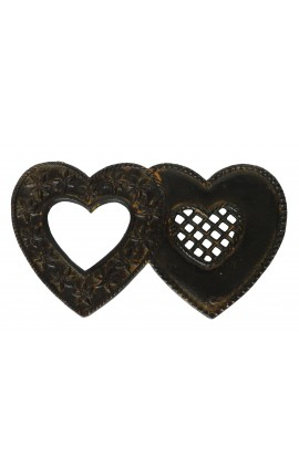 "Trivet patinated metal ""Double Hearts"""