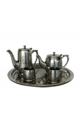 "5-piece coffee and tea in silver brass ""Grand Hotel"""