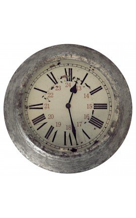 Horloge ronde murale décor zinc