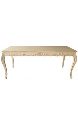 "Dining table style ""French Country Chic"" beige painted weathered wood"