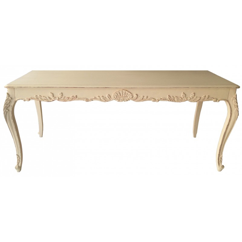 Dining table style french country chic beige painted for French country dining table