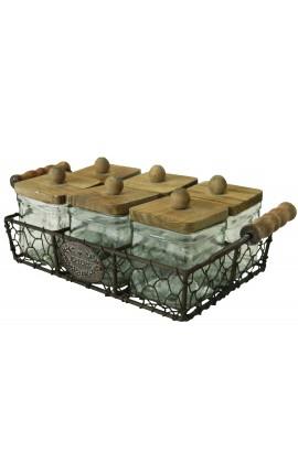 Panier en fer forgé avec 6 bocaux à épices