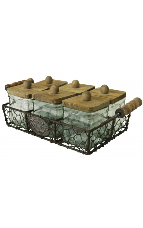 Wrought iron basket with 6 spice jars