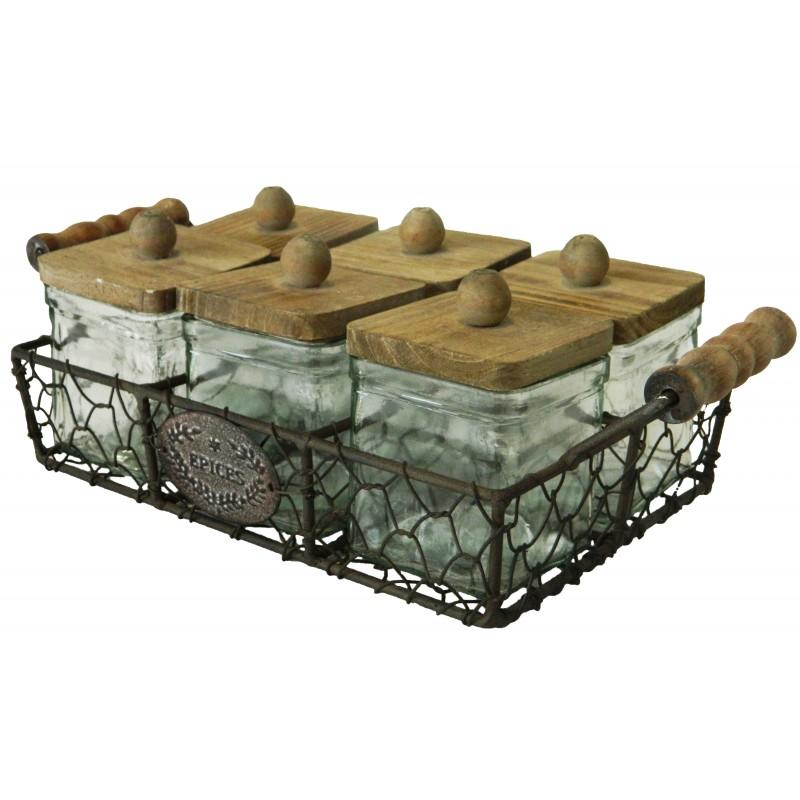 panier en fer forg avec 6 bocaux pices. Black Bedroom Furniture Sets. Home Design Ideas