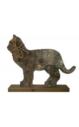 Chat sur support en bois avec écorce et noeud en corde