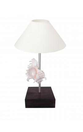 Lampe sur pied avec coquillage (Murex) sur base en acajou