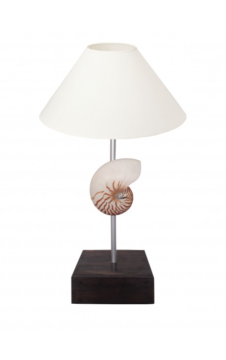 Lampe avec coquillage (Nautile Naturel) sur base en acajou