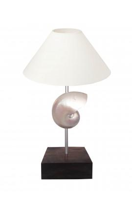 Lampe sur pied avec coquillage (Nautile Nacré) sur base en acajou