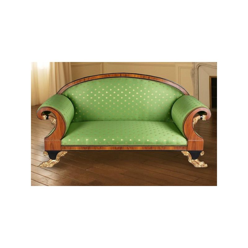 Canap de style empire tissu satin vert et bois loupe d 39 orme for Canape bois et tissu
