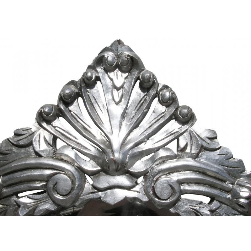 Console Avec Miroir De Style Baroque En Bois Argent Et