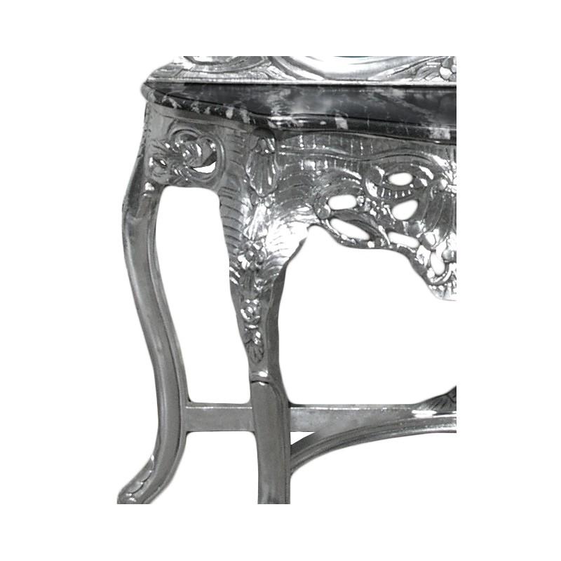 console avec miroir de style baroque en bois argent et marbre noir. Black Bedroom Furniture Sets. Home Design Ideas