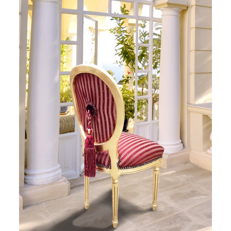 chair louis xvi style burgundy striped fabric with tassel