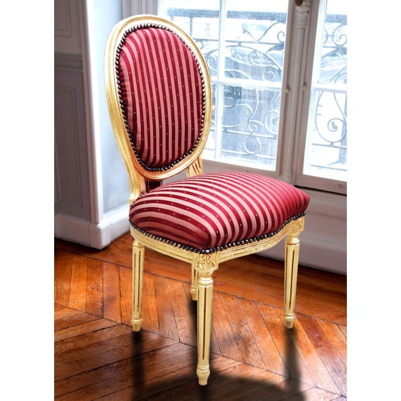 chaise de style louis xvi pompon avec tissu satin bordeaux pois et bois dor. Black Bedroom Furniture Sets. Home Design Ideas