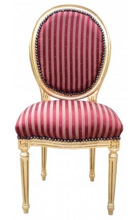Chaise de style Louis XVI à pompon avec tissu satiné Bordeaux et bois doré