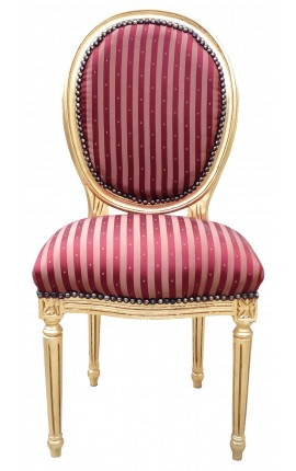 Louis XVI style chair with burgundy satin fabric and gold wood