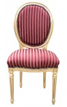 Louis XVI style chair tassel with burgundy satin fabric and gold wood