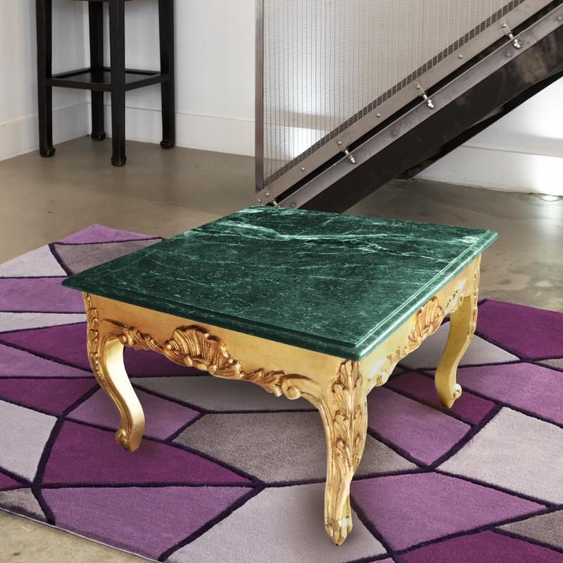 table basse carr e de style baroque avec bois dor et plateau en marbre vert. Black Bedroom Furniture Sets. Home Design Ideas