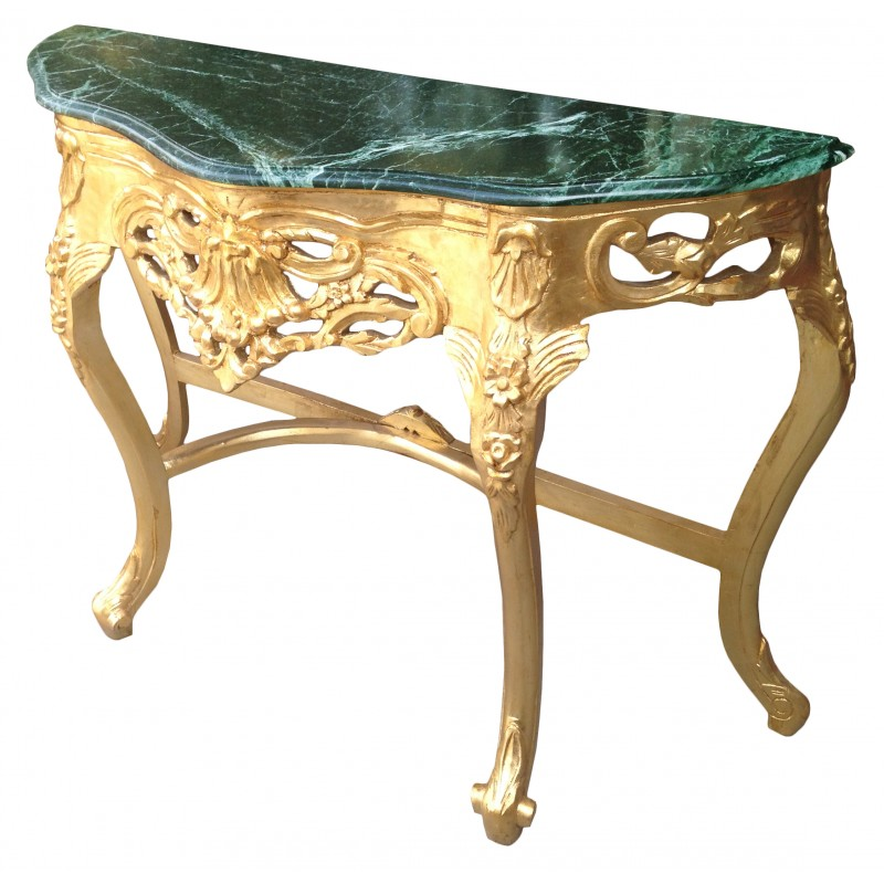 baroque console with gilt wood and green marble. Black Bedroom Furniture Sets. Home Design Ideas