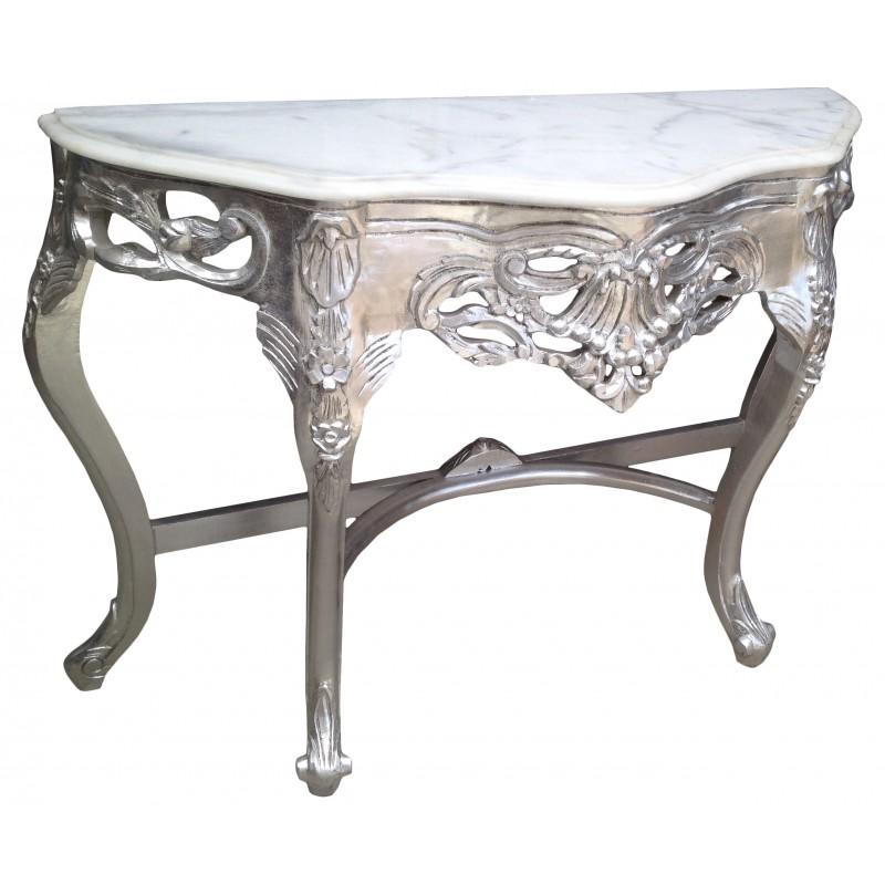 console de style baroque en bois argent et marbre blanc. Black Bedroom Furniture Sets. Home Design Ideas