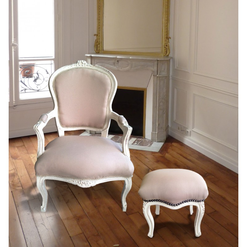 Reposepied baroque de style Louis XV lin beige et bois beige patiné -> Pied Meuble Louis Xv