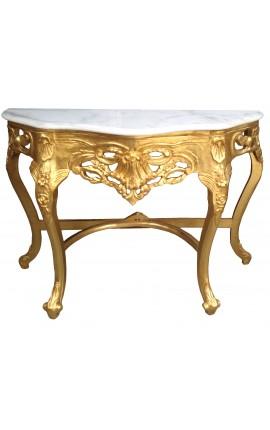 Console de style baroque en bois doré et marbre blanc
