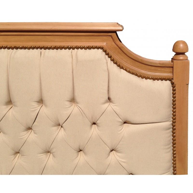 t te de lit de style campagne chic h tre vernis et tissu lin. Black Bedroom Furniture Sets. Home Design Ideas