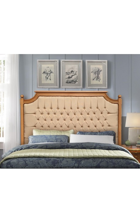 Bed headboard French country chic style beech wood and linen fabric